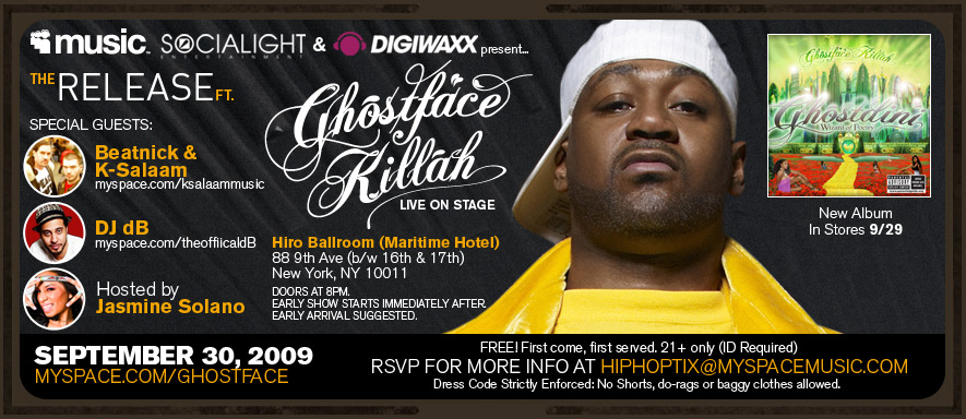 Digiwaxx & MySpace Presents: Ghostface Live 9/30/2009 in NYC