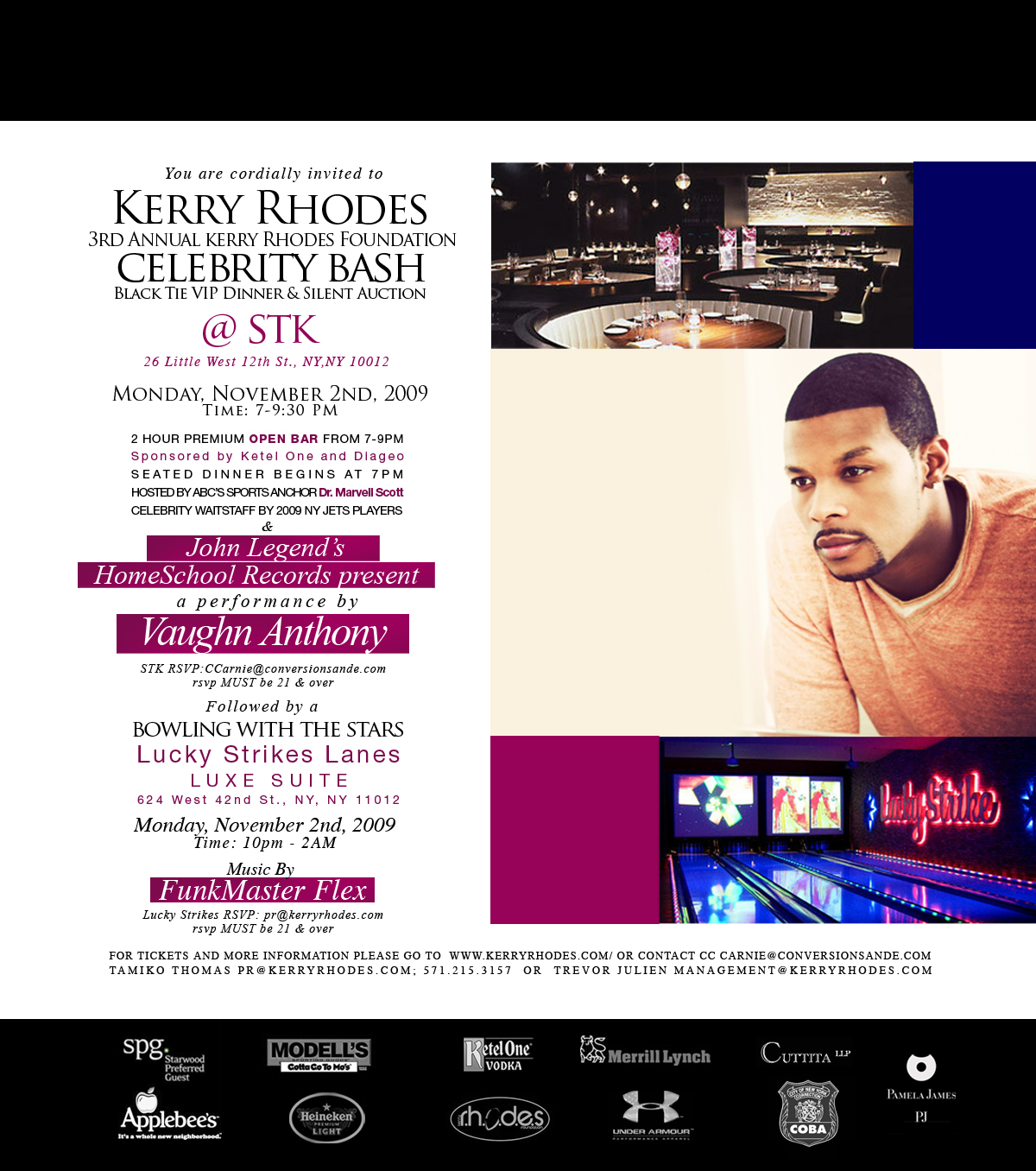 3rd Annual Kerry RHODES Foundation Celebrity Events to be held in NYC 11/2/2009