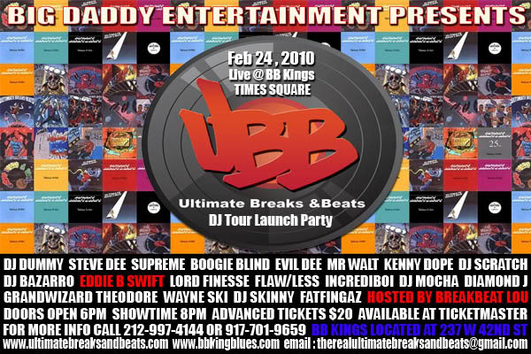 Ultimate Breaks and Beats: DJ showcase and launch party, BB Kings Feb 24, 2010