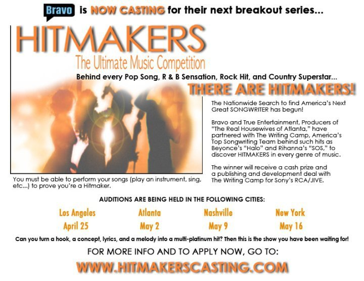 "Bravo's ""Hitmakers"" begins nationwide casting call for next great songwriter"