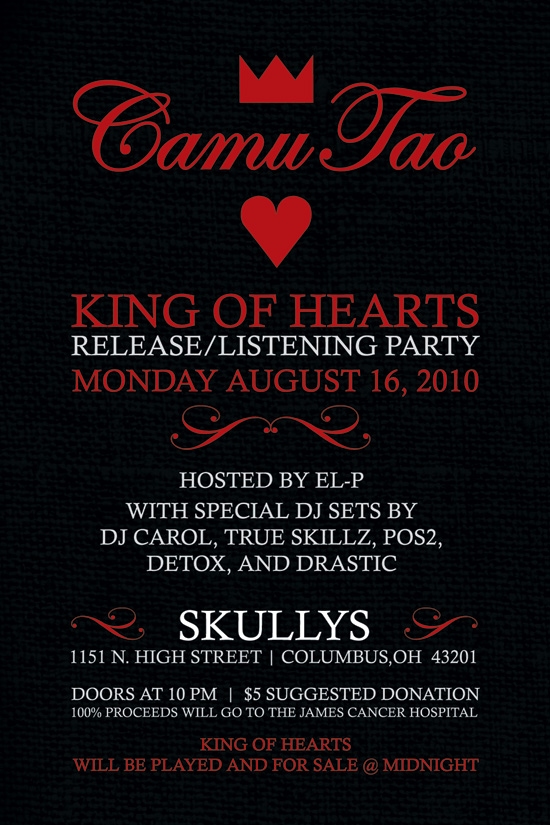 Celebrate life and work of Columbus native Camu Tao at Skully's in Columbus Mon, Aug 16 for KING OF HEARTS release (free mp3)