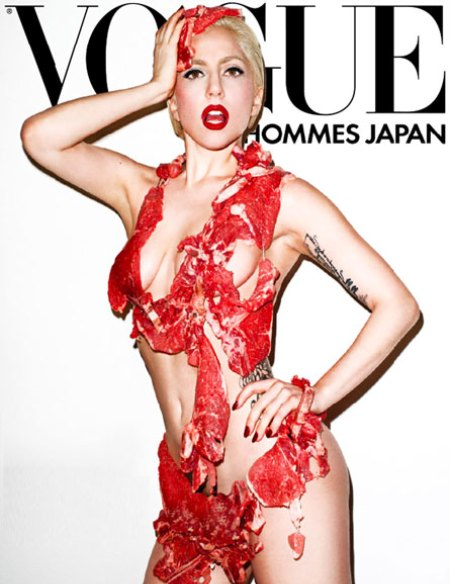 "Lady Gaga poses in raw meat ""bikini"" for Vogue Hommes Japan"