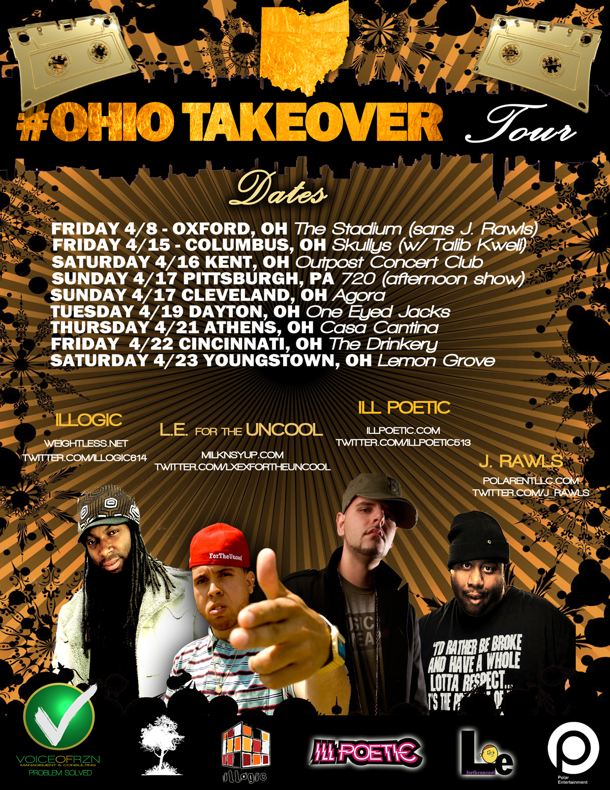#OhioTakeover Tour feat. J. Rawls, Illogic, Ill Poetic and LxE For The Uncool starts April 8