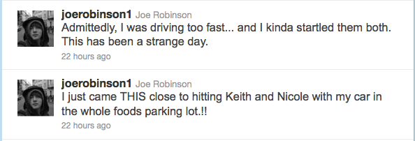 Joe Robinson tweets about almost collision in Nashville