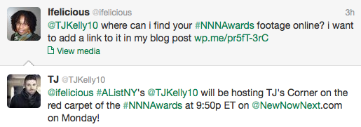 Screen Shot of tweets between Ifelicious and TJ Kelly NewNowNext Awards