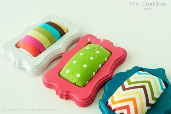 handmade craft pin cushion polka dot chevron stripes DIY Craftaholics Anonymous